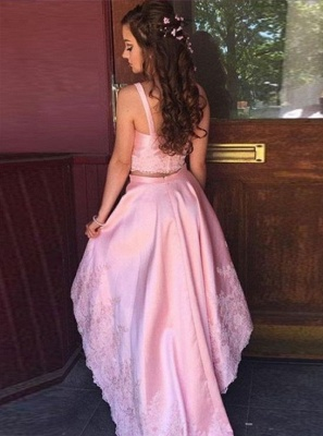 Pink Cocktail Dresses Front Short Behind Long 2 Piece Prom Dresses_2