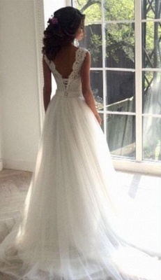 Elegant wedding dresses white with lace tulle sheath dresses bridal gowns cheap to moderate_4