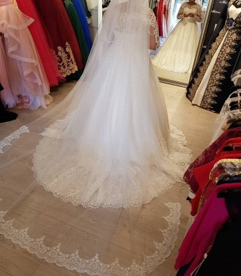 Vintage Brautkleider Langarm Spitze | Edle Weiße Hochzeitskleider Bodenlang_4