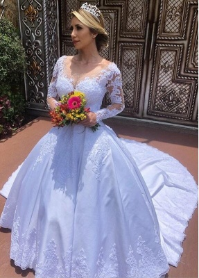 Modern wedding dresses with sleeves | Inexpensive bridal wear with lace_1