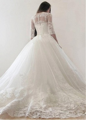 Modern Brautkleid Mit Ärmel | Spitze Hochzeitskleid A Linie_4