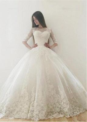 Modern Brautkleid Mit Ärmel | Spitze Hochzeitskleid A Linie_1