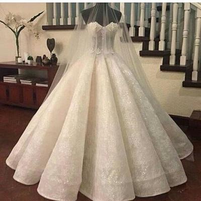Prinzessin Weiß Brautkleider Spitze Herz Perlen Hochzeitskleider Brautmoden_2
