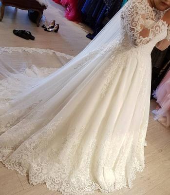 Vintage Brautkleider Langarm Spitze | Edle Weiße Hochzeitskleider Bodenlang_3