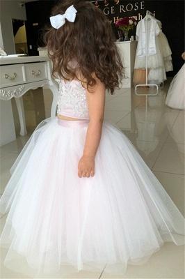 Weiße Blumenmädchenkleider Für Hochzeit 2 Teilige Kleider für Blumenkinder_2