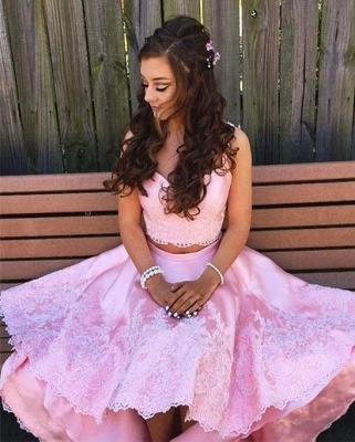 Pink Cocktail Dresses Front Short Behind Long 2 Piece Prom Dresses_1