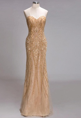 Champagne Luxurious Evening Dresses Cheap Crystal Floor Length Evening Dress Evening Wear_1