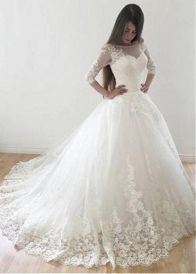 Modern Brautkleid Mit Ärmel | Spitze Hochzeitskleid A Linie_5
