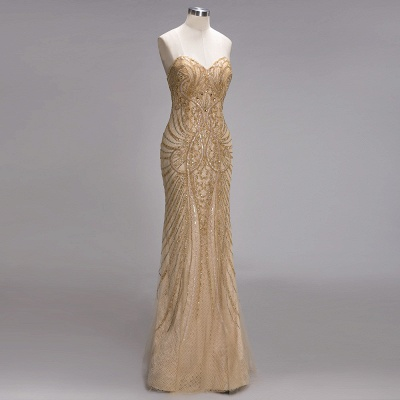 Champagne Luxurious Evening Dresses Cheap Crystal Floor Length Evening Dress Evening Wear_3