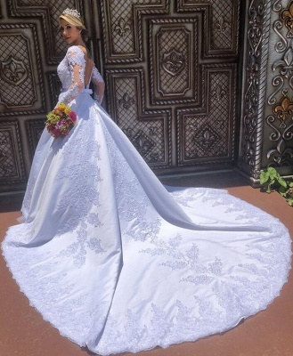 Modern wedding dresses with sleeves | Inexpensive bridal wear with lace_2