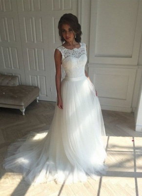 Elegant wedding dresses white with lace tulle sheath dresses bridal gowns cheap to moderate_2