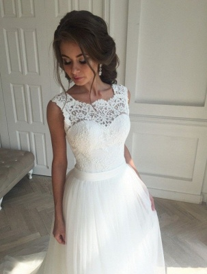 Elegant wedding dresses white with lace tulle sheath dresses bridal gowns cheap to moderate_3