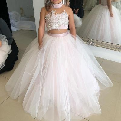 Weiße Blumenmädchenkleider Für Hochzeit 2 Teilige Kleider für Blumenkinder_4