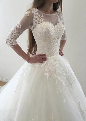 Modern Brautkleid Mit Ärmel | Spitze Hochzeitskleid A Linie_3