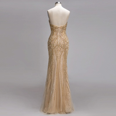 Champagne Luxurious Evening Dresses Cheap Crystal Floor Length Evening Dress Evening Wear_2