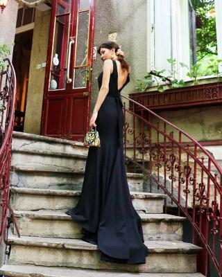 Schlichte Abendkleider Lang Schwarz | Abendmoden Online Kaufen_1