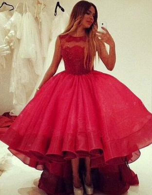 Red Cocktail Dresses Short Long With Lace A Line Organza Evening Dresses Party Dresses_1