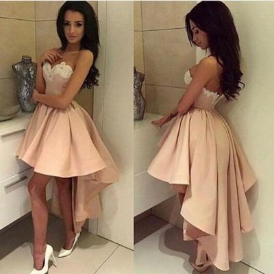 Pink Cocktail Dresses Short Long A Line Satin Party Dresses Cheap_2