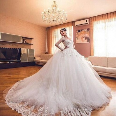 Ball Gown White Wedding Dresses Lace Long Sleeves Tulle Wedding Dresses Bridal_5