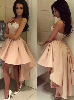 Pink Cocktail Dresses Short Long A Line Satin Party Dresses Cheap_1