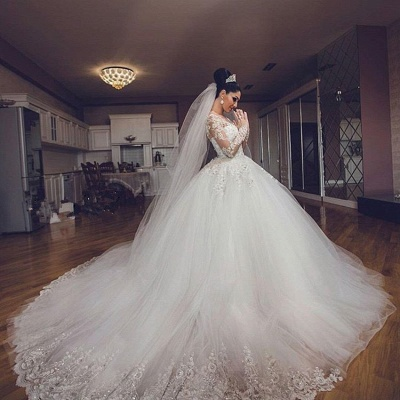 Ball Gown White Wedding Dresses Lace Long Sleeves Tulle Wedding Dresses Bridal_4