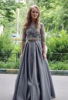 Silber Brautmutterkleider mit Ärmel A Linie Siptze Kleider für Brautmutter Abendmoden_1