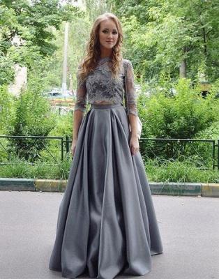 Silber Brautmutterkleider mit Ärmel A Linie Siptze Kleider für Brautmutter Abendmoden_2