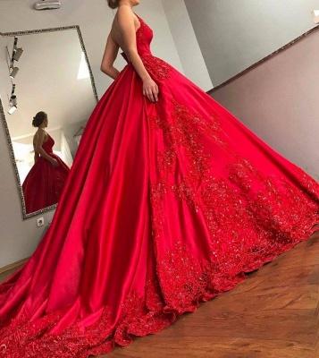 Designer Brautkleider Rot Satin Prinzessin Appliaktionen Brautmoden Hochzeitskledier_1