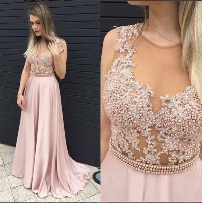 Pink Prom Dresses Long Beaded Satin Floor Length Evening Wear Prom Dresses_2