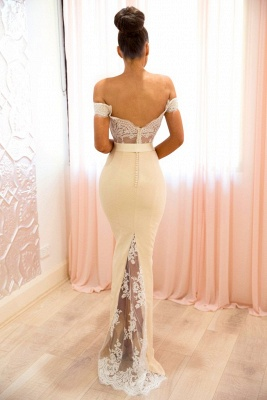 Buy elegant white evening dresses long with lace off shoulder evening wear_2