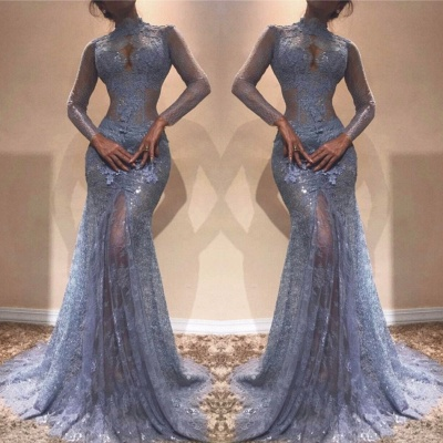 Elegante Blaues Abendkleid Mit Ärmel Spitze Abiballkleider Abendmoden Online_2