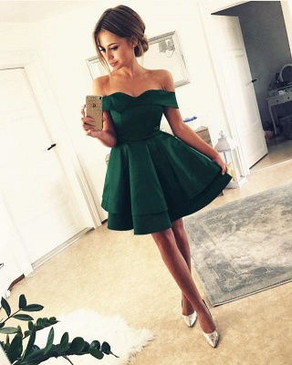Red Green Cocktail Dresses Short A Line Prom Dresses Cheap Online_2