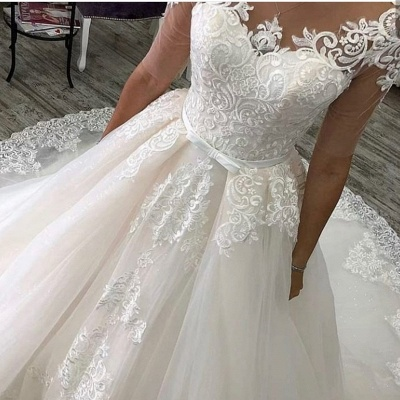 Elegant wedding dresses with sleeves | A line wedding dresses with lace_4