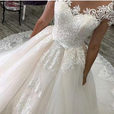 Elegante Hochzeitskleider Mit Ärmel | A Linie Brautkleider mit Spitze_4