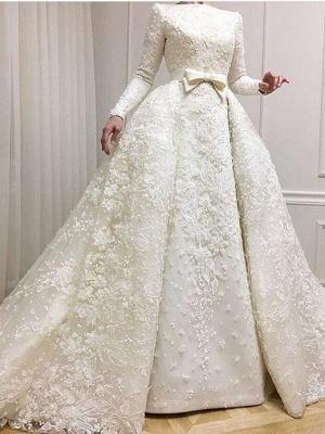Fashion Weiße Hochzeitskleider Mit Langer Ärmel A Line Brautkleider Spitze Günstig Online_1