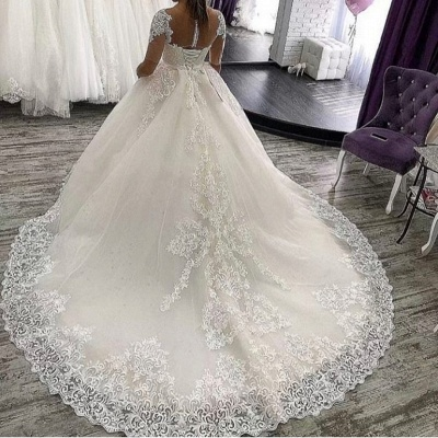 Elegant wedding dresses with sleeves | A line wedding dresses with lace_3