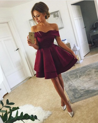 Red Green Cocktail Dresses Short A Line Prom Dresses Cheap Online_1