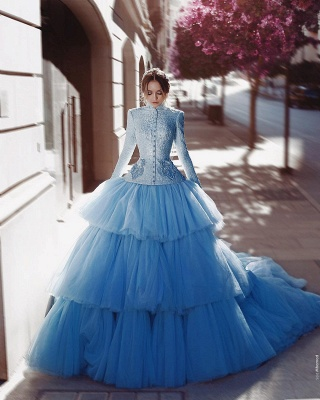 Vintage Wedding Dresses Bright Blue Wedding Dresses Lace With Sleeves_2