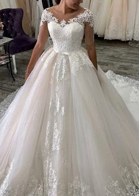 Elegant wedding dresses with sleeves | A line wedding dresses with lace_1