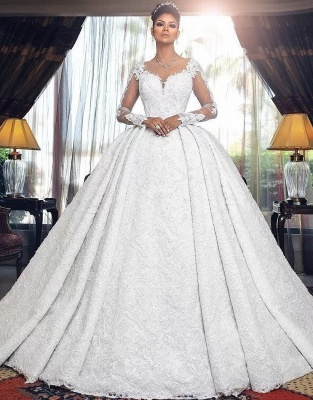 Luxury Wedding Dresses A Line Lace Wedding Dresses With Sleeves_1