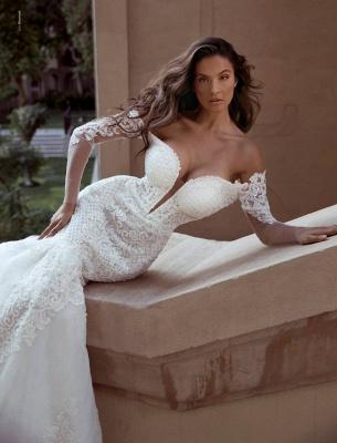 Elegante Brautkleid Mit Ärmel | Hochzeitskleider Meerjungfrau Online_3