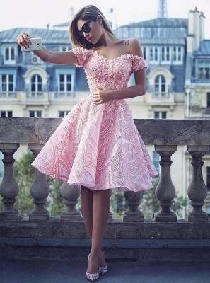 Fashion Rosa Cocktailkleider Kurz Günstig A linie Abendmoden Abiballkleider_1