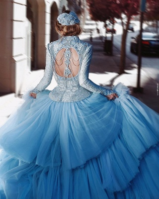 Vintage Wedding Dresses Bright Blue Wedding Dresses Lace With Sleeves_4