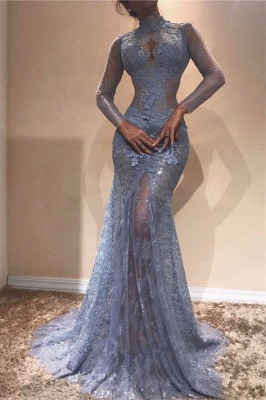 Elegante Blaues Abendkleid Mit Ärmel Spitze Abiballkleider Abendmoden Online_1