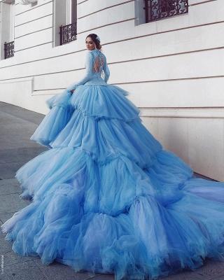 Vintage Brautkleider Frabig Blau Hochzeitskleider Spitze Mit Ärmel_4
