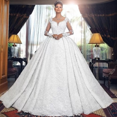 Luxury Wedding Dresses A Line Lace Wedding Dresses With Sleeves_2