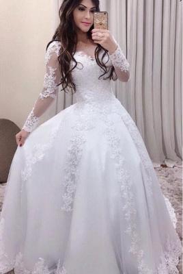 Elegante Hochzeitskleider Mit Ärmel | Spitze Brautkleider Online_1