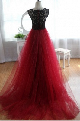Black Red Evening Dress Long Cheap Lace Tulle Prom Dresses Party Dresses_2