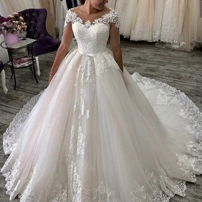 Elegant wedding dresses with sleeves | A line wedding dresses with lace_2