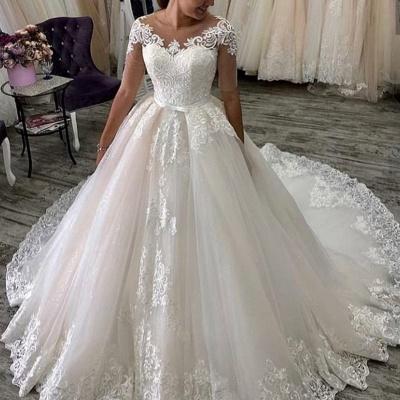Elegante Hochzeitskleider Mit Ärmel | A Linie Brautkleider mit Spitze_2